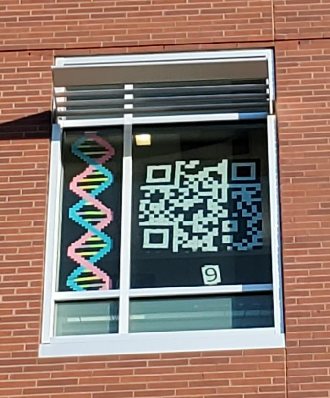 Window with QR code