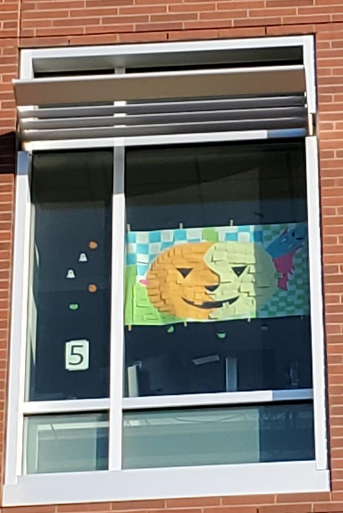 Window with jack-o-lantern face